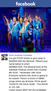 Cosi Andrew Costello – to Mamma Mia The Musical (prize valued at $290)