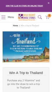 DISCOUNT DRUG STORES – Win a Trip to Thailand (prize valued at $3,500)