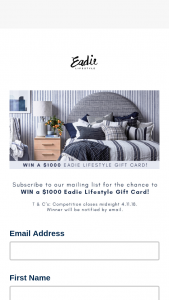 Eadie Lifestyle – Will Be Chosen at Random and Notified By Email (prize valued at $1,000)