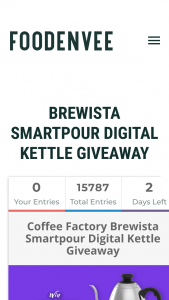 Foodenvee – Win a Brewista Smartpour Digital Kettle