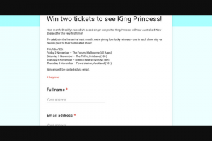 Frontier – Win Two Tickets to See King Princess (prize valued at $588)
