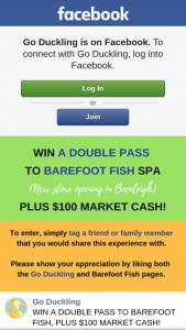 Go Duckling – Win a Double Pass to Barefoot Fish