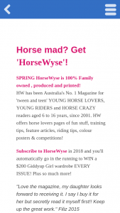 Horsewyse Magazine – Win a $200 Giddyup Girl Wardrobe Every Issue (prize valued at $200)