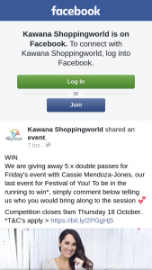 Kawana Shoppingworld – 5 X Double Passes for Friday's Event With Cassie Mendoza-Jones