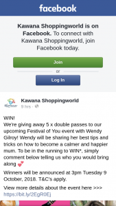 Kawana Shoppingworld – 5 X Double Passes to Our Upcoming Festival of You Event With Wendy Gilroy