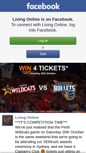 Living Online Team – Win Four Captain's Clubs Tickets to The Perth Wildcats Vs Brisbane Bullets BaskeTBall Match at Rac Arena on Saturday 20th October (prize valued at $450)
