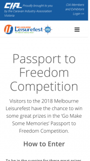 Melbourne Leisure Fest – Some Great Prizes In The 'go Make Some Memories' Passport to Freedom Competition (prize valued at $5,000)