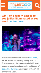 Must Do Brisbane – Win 1 of 3 Family Passes to Experience The Wonder and Beauty of Sea Jellies Illuminated