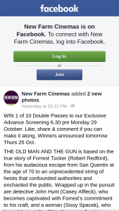 New Farm Cinemas – Win 1 of 10 Double Passes to Our Exclusive Advance Screening 6.30 Pm Monday 29 October