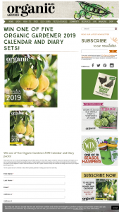 Organic Gardener – Win One of Five Organic Gardener 2019 Calendar and Diary Packs (prize valued at $35.9)