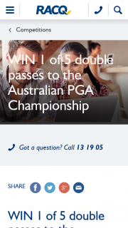 RACQ – 2 X Single Any One Day General Admission Tickets for The Australian Pga Championships at RACV Royal Pine Resort 29 Nov (prize valued at $50)