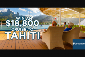 Radio 2ch Sydney – Win an $18800 Cruise to Tahiti Thanks to Ultimate Cruising (prize valued at $18,800)