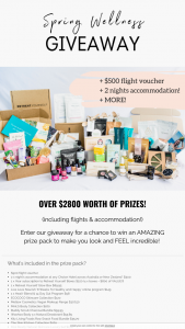 Retreat Yourself Spring Wellness Giveaway – Win an Amazing Prize Pack to Make You Look and Feel Incredible (prize valued at $2,800)