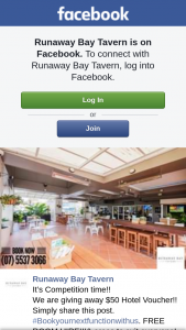 Runaway Bay Tavern – $50 Hotel Voucher (prize valued at $50)