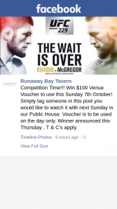 Runaway Bay Tavern – Win $100 Venue Voucher to Use this Sunday 7th October (prize valued at $100)
