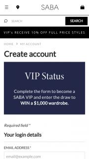 Saba – Win a $1000 Wardrobe (prize valued at $12,000)
