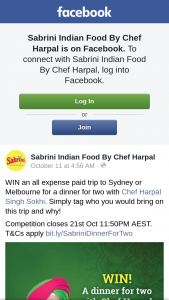 Sabrini Indian Food – Win Trip to Sydney Or Melbourne to Have Dinner With Chef Harpal