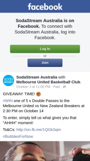 Soda Stream – Win One of 5 X Double Passes to The Melbourne United Vs New Zealand Breakers at 230 Pm on October 14