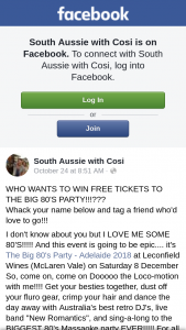 South Aussie With Cosi – Free Tickets to The Big 80's Party??