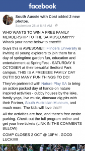 South Aussie With Cosi – Win a Free Family Membership to The Sa Museum??