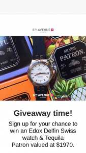 8th Avenue Watch Co – Win an Edox Delfin Swiss Watch & Tequila Patron Valued at $1970. (prize valued at $1,970)