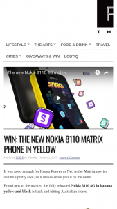 The F – Win The New Nokia 8110 Matrix Phone In Yellow/closes 11.59pm