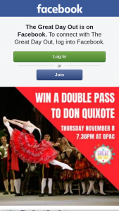 The Great Day Out – 5 X A-Reserve Double Passes to Qpac's Don Quixote for Thursday November 8 2018 at 7.30pm (prize valued at $1,890)