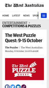 The West Puzzle Quest 9 – Competition (prize valued at $1,000)