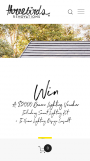 Three Birds Renovations – $2000 RRP Beacon Lighting Gift Voucher Free In Home Lighting Design Consultation (prize valued at $2,000)