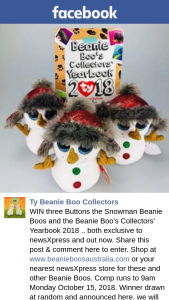Ty beanie boo collectors – Win Three Buttons The Snowman Beanie Boos and The Beanie Boo's Collectors' Yearbook 2018 .. Both Exclusive to Newsxpress and Out Now