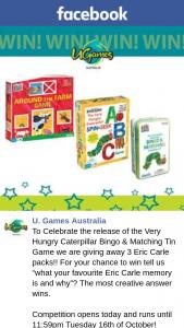 U Games Australia – 3 Eric Carle Packs