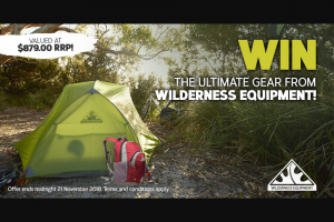 Wild Earth – Win Wilderness Equipment Gear Worth $879 From Wild Earth (prize valued at $879)