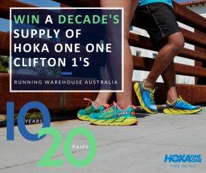 Running Warehouse Australia – Win 20 pairs of Hoka One One Clifton 1'S Men's and/or Women's Shoes