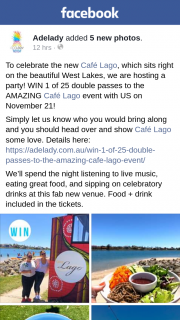 Adelady – Win 1 of 25 Double Passes to The Amazing Café Lago Event With Us on November 21