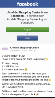 Arndale Shopping Centre – Will Be (prize valued at $25)