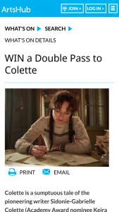 Artshub – Win a Double Pass to Colette