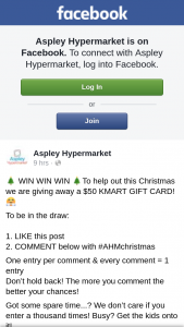 Aspley hypermarket – Win Win to Help Out this Christmas We Are Giving Away a $50 Kmart Gift Card (prize valued at $50)