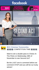 BCC Cinemas Toowoomba – Win a Double Pass to Chicks at The Flicks on Wednesday 28th of November to See Second Act