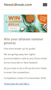Choice Hotels – Two Nights' Accommodation Valid at Any Choice Hotel Across Australia Or New Zealand (prize valued at $2,500)