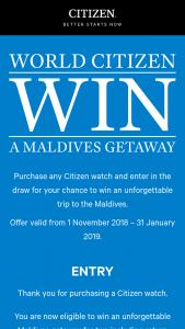 Citizen – Win a Maldives Getaway Prize Draw Program T&cs (prize valued at $20,000)