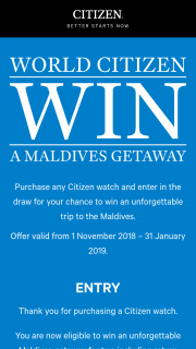 Citizen – Win a Maldives Getaway Prize Draw Program T&cs (prize valued at $20,000)