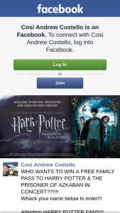 Cosi Andrew Costello – Win a Free Family Pass to Harry Potter & The Prisoner of Azkaban In Concert?