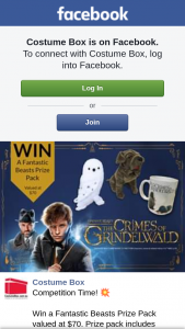 Costume Box – Win a Fantastic Beasts Prize Pack Valued at $70. (prize valued at $70)