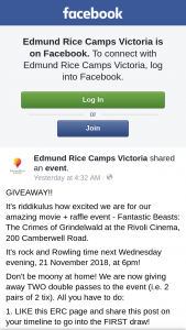 Edmund Rice Camps Vic – Two Double Passes to The Event (ie 2 Pairs of 2 Ticket). (prize valued at $120)