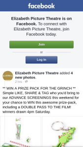 Elizabeth Picture Theatre – Win a Prize Pack for The Grinch Simple Like