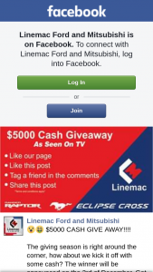 FB Linemac Ford and Mitsubishi $5 – Competition (prize valued at $5,000)
