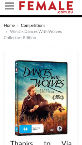 Female – Win One of 5 X Dances With Wolves Collectors Edition DVDs (prize valued at $150)