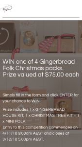 Gingerbread Folk – Win One of 4 Gingerbread Folk Christmas Packs (prize valued at $75)