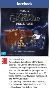 Hoyts Australia – Win 1 of 2 Limited Edition Prize Packs