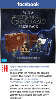 Hoyts Entertainment Quarter – Win 1 of 4 Limited Edition Prize Packs